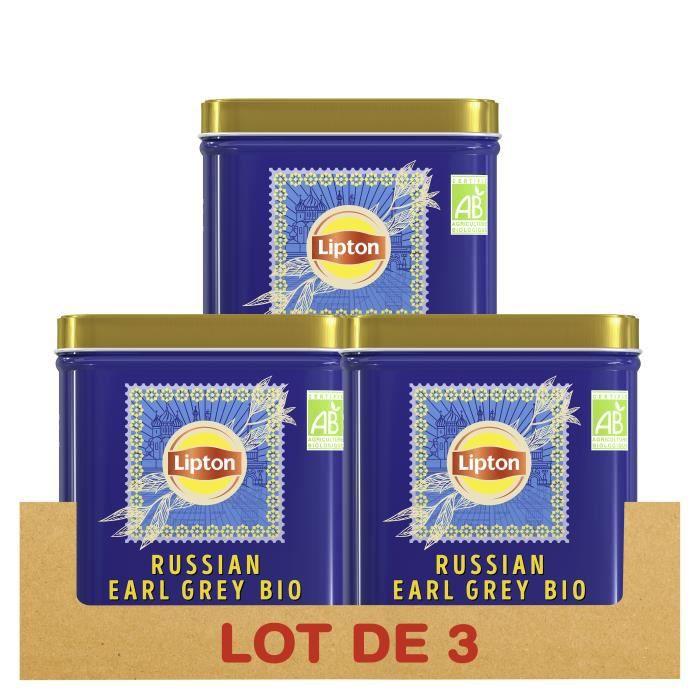 LIPTON - LOT DE 3 - Thé Noir Bio Russian Earl Grey, Bergamote & Agrumes, 100% d'origine naturelle, Agriculture