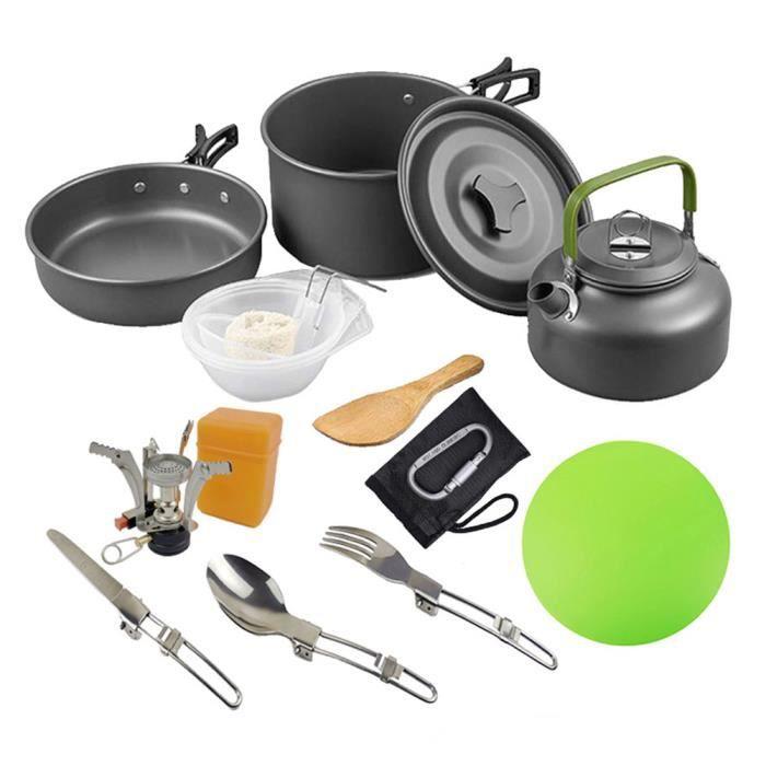 Ustensiles de cuisine Randonnée Pot Batterie de cuisine Kit de pique-nique pour antiadhésives léger BackpackingBlack