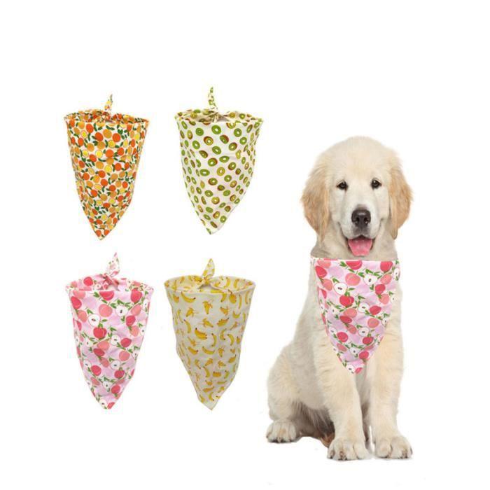 4 pièces bavoir pour animaux de compagnie mode fruits imprimé respirant chien bandage triangulaire écharpe pour COFFRET BIBERONS