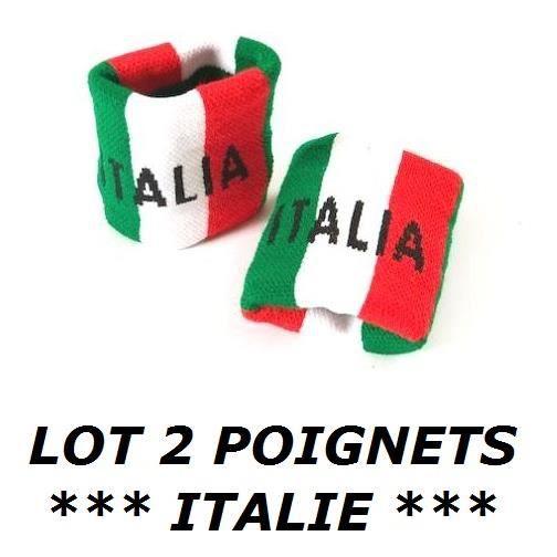 * EURO 2021 * LOT 2 BRACELETS ITALIE ITALIEN Poignet éponge Sport Football Jogging Tennis No maillot drapeau écharpe fanion ...