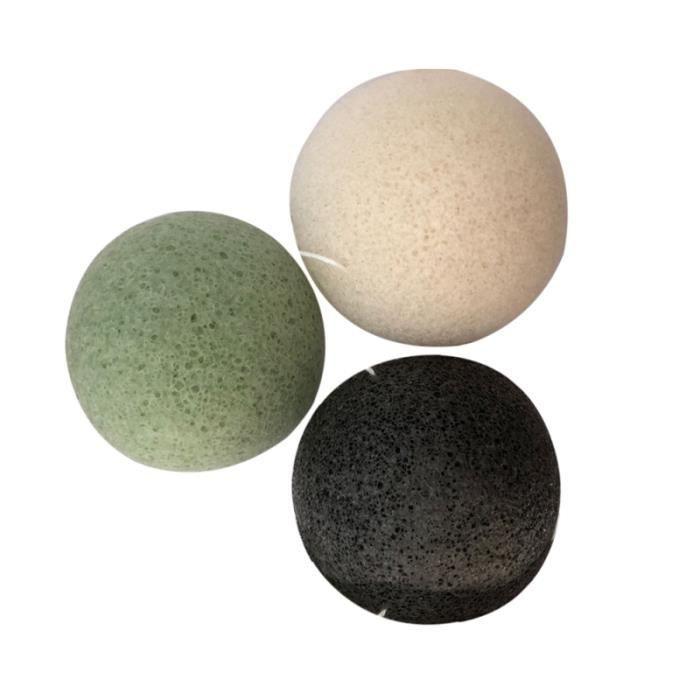 3 pièces éponges faciales portatives Konjac durables de nettoyage au charbon de bambou pour laver NETTOYANT VISAGE - DEMAQUILLANT