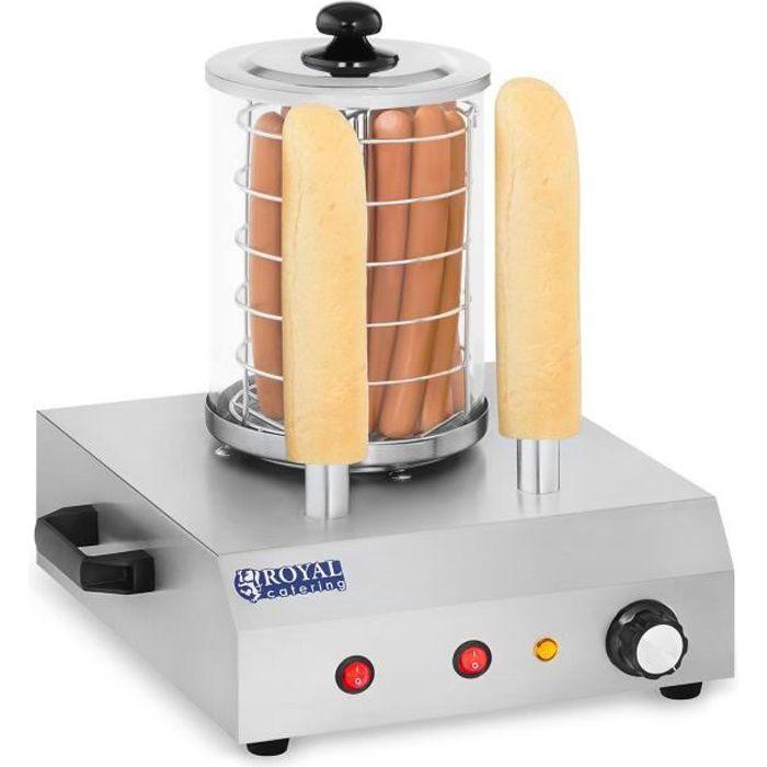 Royal Catering Hot Dog Maker 2 brochettes 422 watts Machine à vapeur en acier