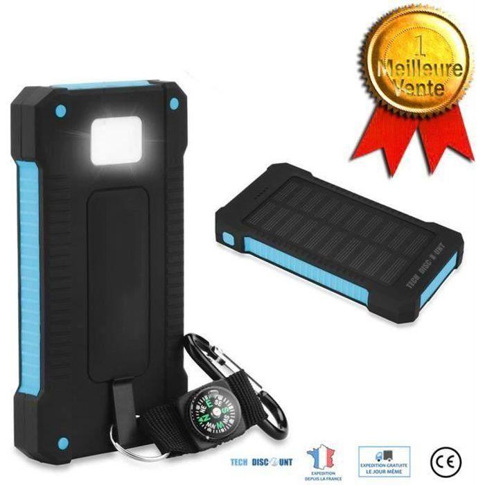 TD® Batterie Externe Portable Batterie de Secours Chargeur Solaire Etanche 2 ports USB Boussole Lampe Torche LED Smartphones camping