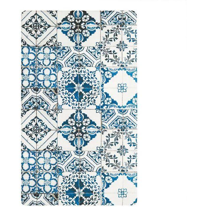 AZULEJOS VINYLE - Tapis de cuisine imprimé carreaux de ciment bleu 45x75
