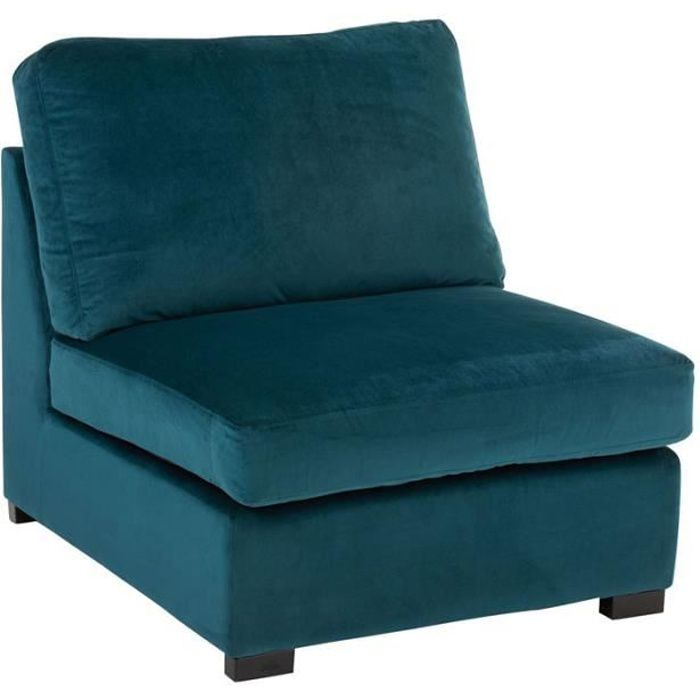 Fauteuil chauffeuse Velours bleu canard - RURUTU - L 96 x l 79 x H 77