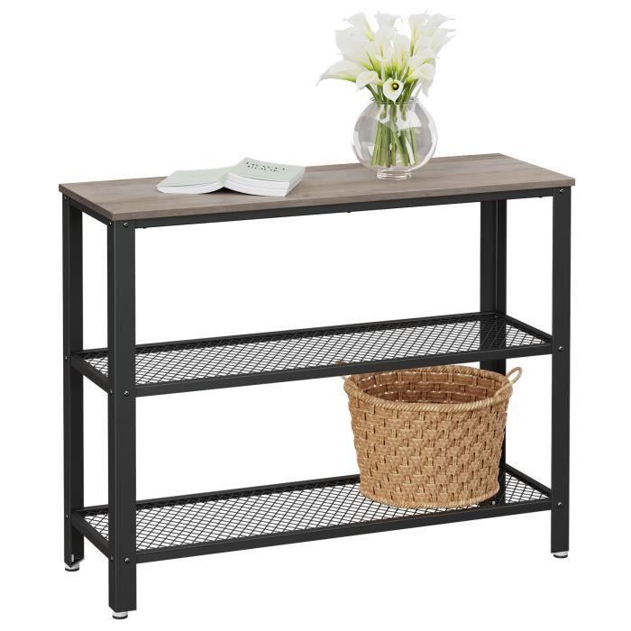 VASAGLE Table de Console - Cadre en Acier - 101.5 x 35 x 80 cm - Style Industriel - Couleur Grège LNT081B02
