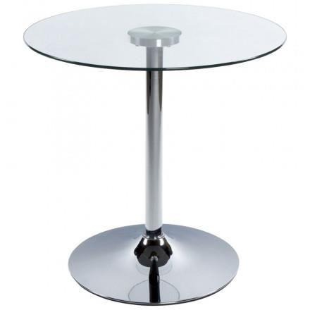 Table ronde vinyl en m tal et verre tremp transparent chrom achat ven - Table verre et metal ...