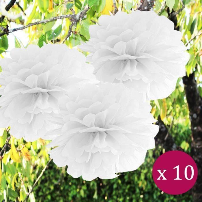 Marron 14pcs Fleur Pompons Boule Lanterne en Papier Déco Mariage