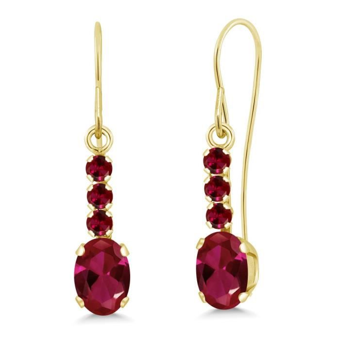 Womens 1.30 Ct Oval Red Created Ruby 10k Yellow Gold Earrings DFW7H