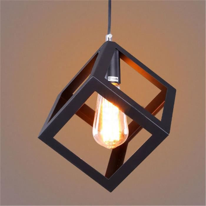 Suspension luminaire design cube m tal 16cm industriel for Luminaire lustre design