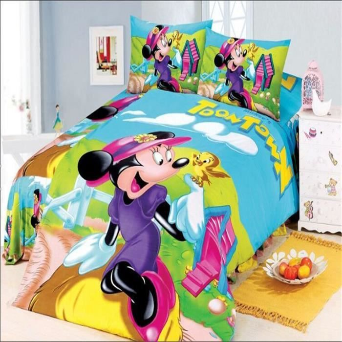 l m parure de lit enfant mickey mouse minnie achat vente parure de couette cdiscount. Black Bedroom Furniture Sets. Home Design Ideas
