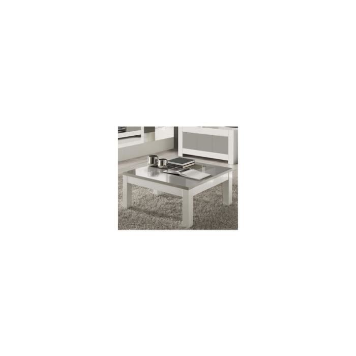 Table de salon carr e blanche et grise laqu e design - Table basse laquee grise ...
