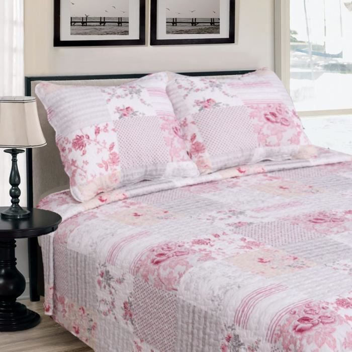 couvre lit fleurs rose et 2 taies oreillers achat vente jet e de lit boutis black friday. Black Bedroom Furniture Sets. Home Design Ideas