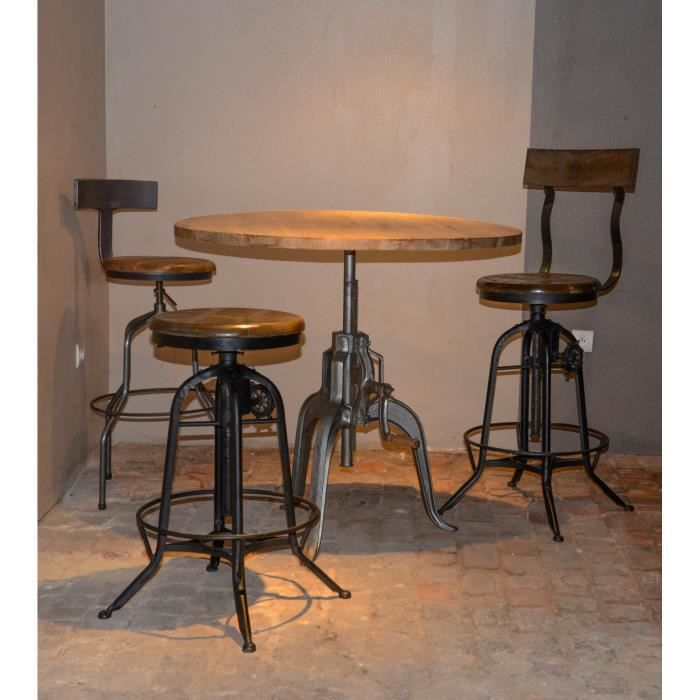 Table bar industrielle a manivelle r glable atelier grey for Achat table bar