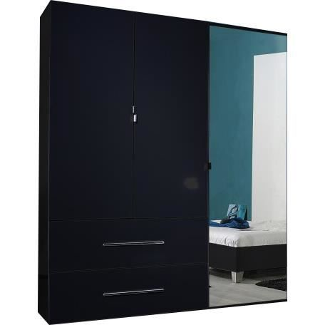 armoire noir laqu 3 portes et 2 tiroirs achat vente. Black Bedroom Furniture Sets. Home Design Ideas