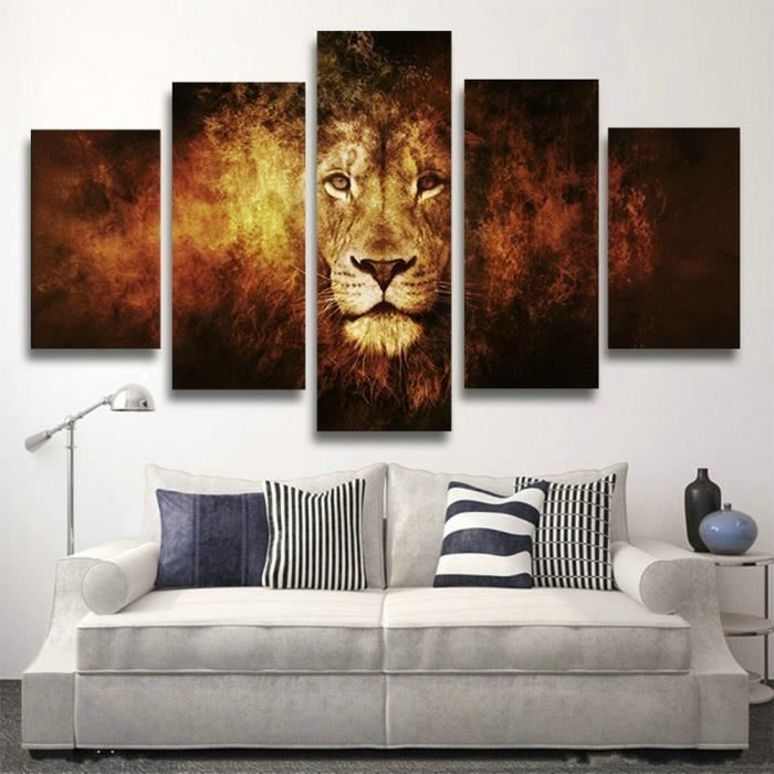 5pcs non cadre no inner framed moderne art africain tiger for Decoration murale africaine