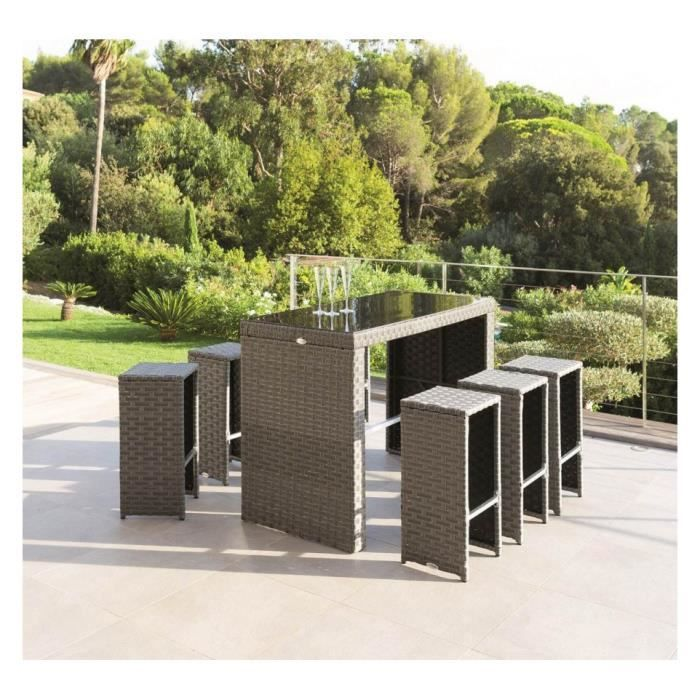 ensemble repas tinos 7 pieces hesperide gris achat vente salon de jardin ens repas tinos 7. Black Bedroom Furniture Sets. Home Design Ideas