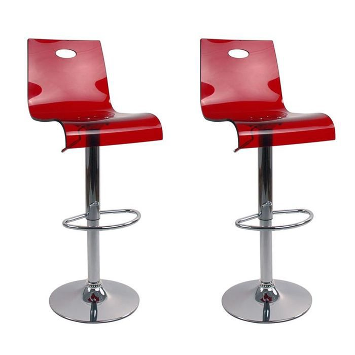 Tabourets de bar rouge transparent saturne x 2 achat for Tabouret de cuisine rouge