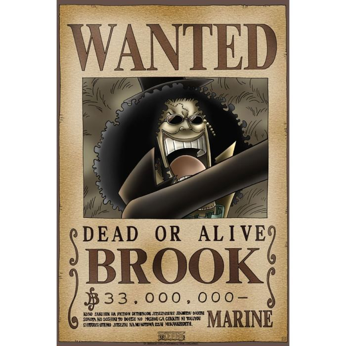 Poster one piece 39 wanted brook 39 52x38cm achat vente - One piece wanted poster ...