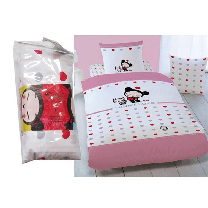 drap housse pucca funny love achat vente drap housse cdiscount. Black Bedroom Furniture Sets. Home Design Ideas