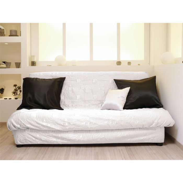 housse clic clac matelassee satin blanc anti t ches achat vente housse de canape cdiscount. Black Bedroom Furniture Sets. Home Design Ideas