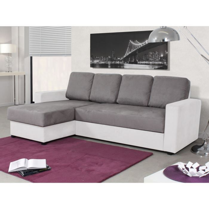 canap d 39 angle convertible tissu gris et blanc achat. Black Bedroom Furniture Sets. Home Design Ideas