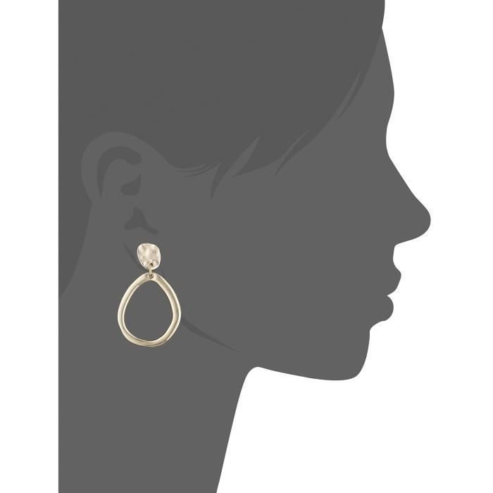 Anne Klein Gold Tone Pave Drop Hoop Clip-on Earrings CMB4Q