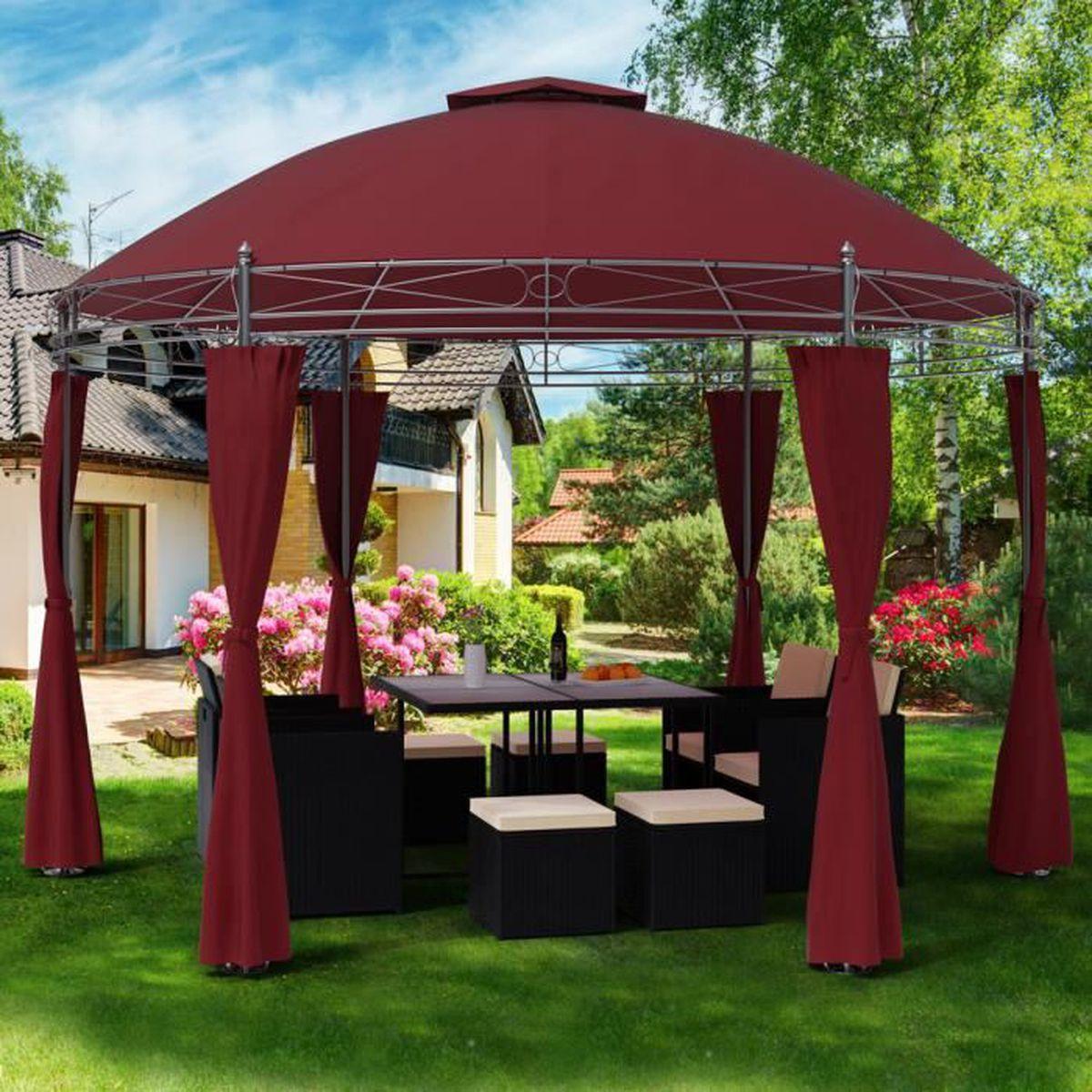 Tonnelle Kiosque De Jardin tonnelle toscana - 3,5 m - pavillon - tente de jardin - barnum rond jardin  extérieur