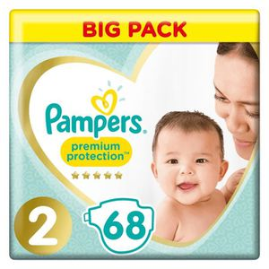 COUCHE PAMPERS New Baby Taille 2 - 3 à 6 kg - 68 couches
