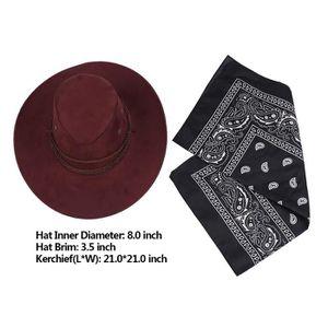 CHAPEAU - PERRUQUE Chapeau Cowboy Homme Femme Adulte En Feutre Foular
