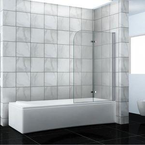 Pare baignoire 1 volet panneau fixe 85 x 140 cm reversible Verre tremp/é granit/é fum/é Novellini