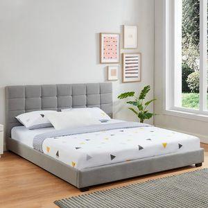STRUCTURE DE LIT Lit adulte avec tête de lit capitonnée en tissu gr