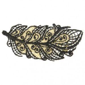 Patch Ecusson Thermocollant Plume Dentelle et Dorures Coloris Noir 2,50 x 6 cm R