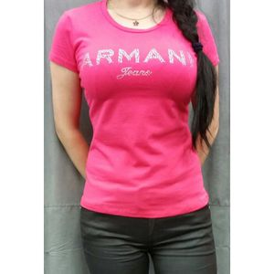 T-SHIRT Tee Shirt Armani Jeans Femme Manches Courtes Rose