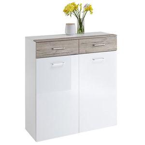 COMMODE DE CHAMBRE Commode en bois avec 2 tiroirs et 2 portes, blanc