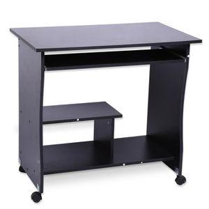 BUREAU  Bureau d'ordinateur table noir de travail Tablette