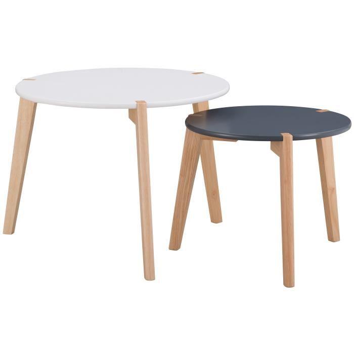 GALET Lot de 2 tables gigognes rondes scandinave blanc et noir laqués mat - Ø 60 cm et Ø 45 cm