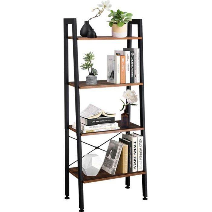 Étagère bibliothèque étagère en métal Design Industriel en MDF et métal Style Industriel 56x34x137.5cm