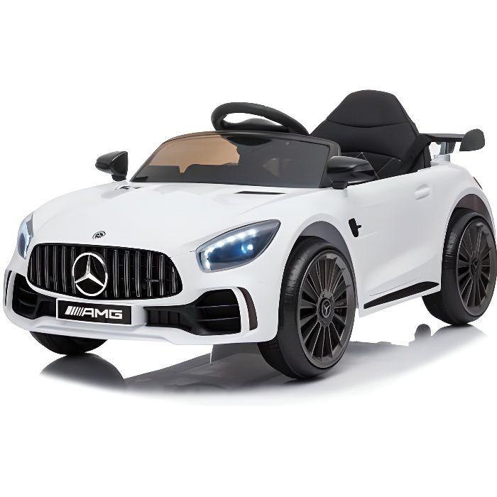 Mercedes GTR Mini 12v Blanc - Voiture électrique pour enfant avec batterie 12v et télécommande