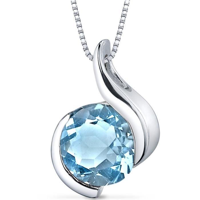 Chaine De Cou Vendue Seule TQ5MV Pendentif Bezel topaze bleue suisse des femmes Collier en argent sterling rhodié Nickel Terminer 2,