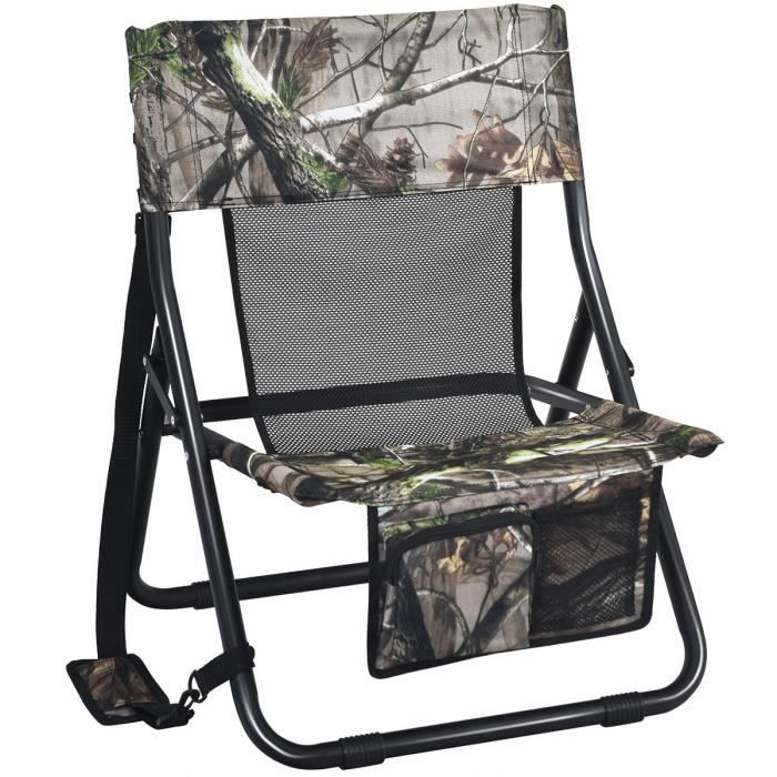 COSTWAY Chaise de Camping Pliante avec Poches en Tissu Oxford Chaise de Pêche avec Bandoulière pour Chasse, Randonnée 52X49X70cm