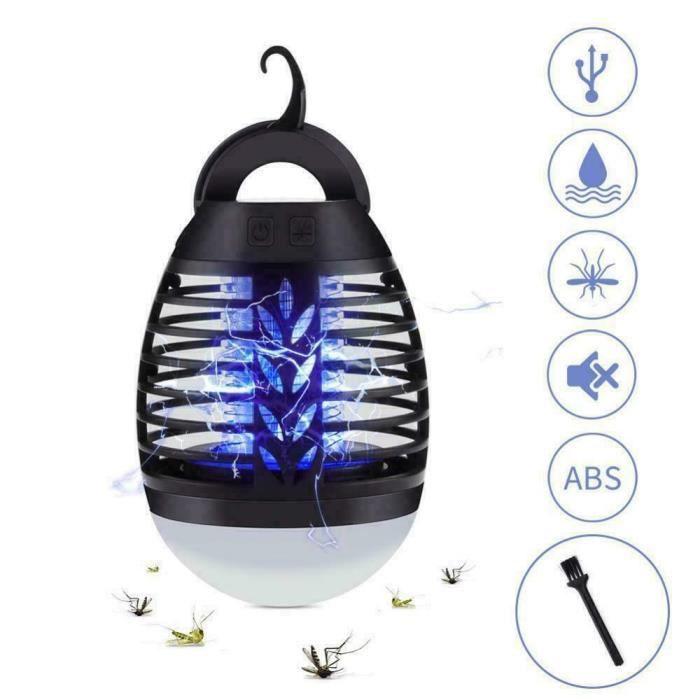 Lampe anti-moustiques électrique d'extérieur, répulsive pour moustiques de camping, lampe d'extérieur portable 2 en 1 Lampe LED
