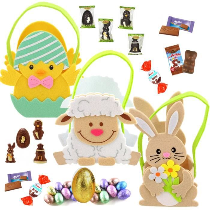 3 Paniers feutrine garnis de 20 chocolats Kinder mini bueno et schokobons, Celebrations - IDEE CADEAU NOEL