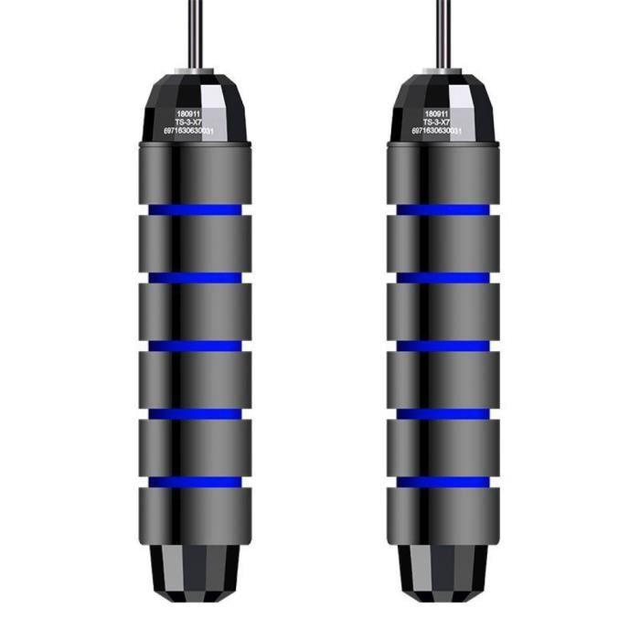 3M Corde a Sauter à Grande Vitesse Câble Acier Ajustable Foam Handleavec Roulement à Bille(Noir et bleu)
