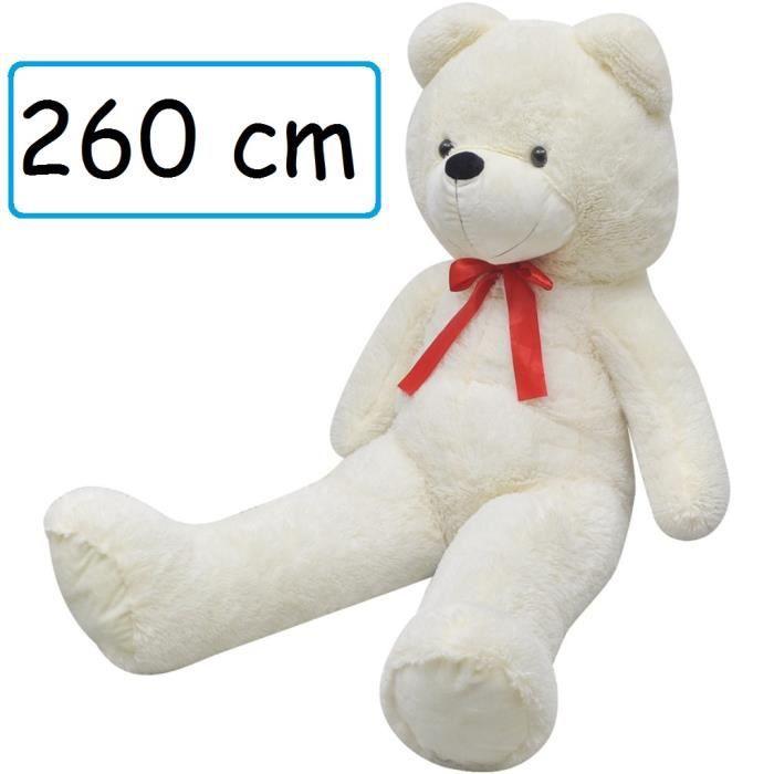 Peluche Doudou Ourson Géant 200 cm XXL Blanc pour enfant adulte calins ours décoration cadeau Jouet anniversaire noel fête