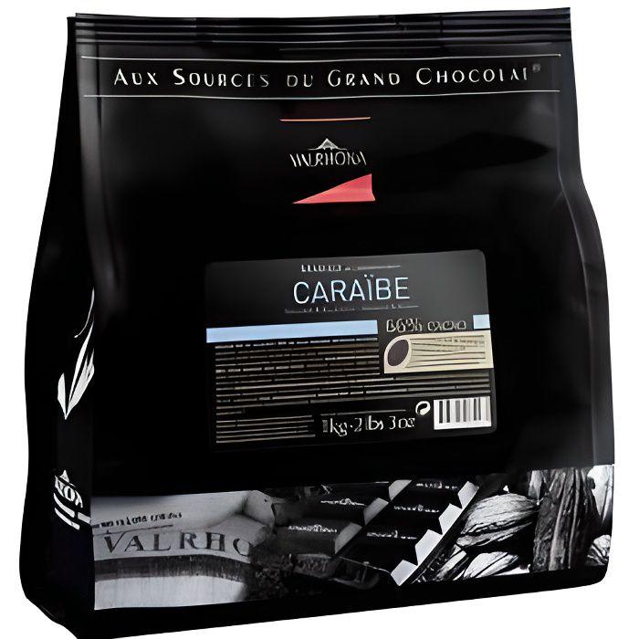 Fèves de chocolat noir Valrhona Caraïbe 66% Poids:1kg