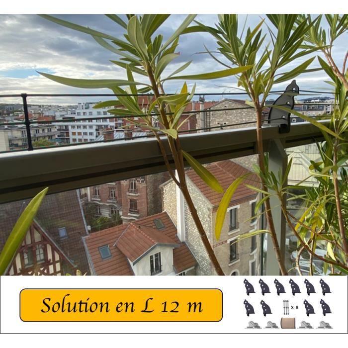 Protection pour balcons et terrasses en forme de L de 12m