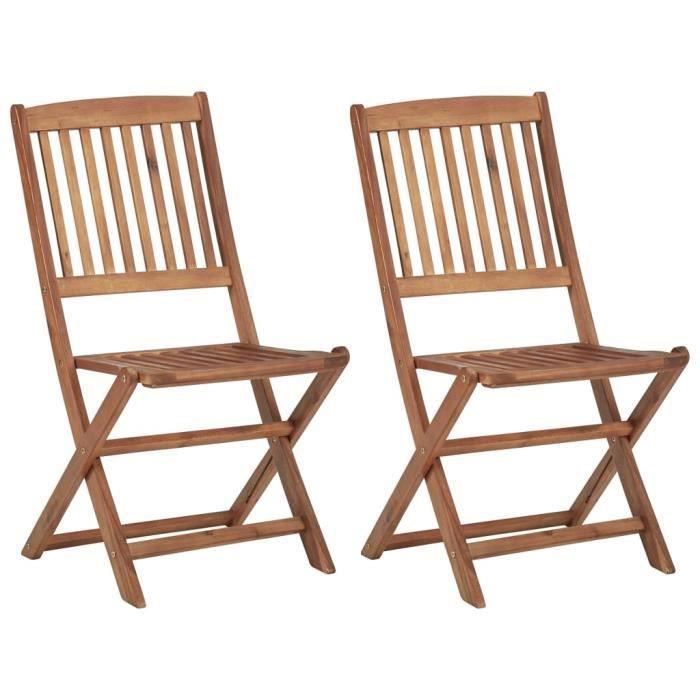 BINGO - 2 pcs Chaises de jardin pliables Bois d'acacia solide - Chaise d'extérieur ,Chaise de terrasse ,Fauteuil de balcon-3142