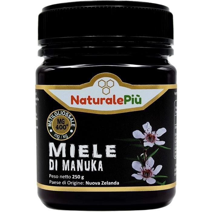 Miel de Manuka 400+ MGO 250 gr. Produit en Nouvelle-Zélande. Actif et brut, 100 % pur et naturel. Méthylglyoxal testé par des labora