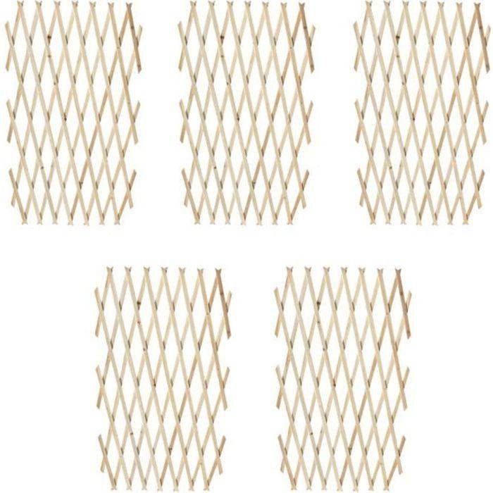 ♫4924 Lot de 5 Clôture en treillis Classique - Clôture de jardin Brise vue Bois solide 180x90 cm MMCZ®